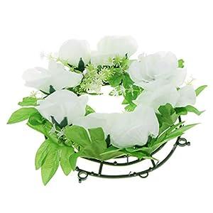 D DOLITY Simulation Silk Rose Flower Floral Wreath Cemetery Flower Memorial Flower Wreath 25cm