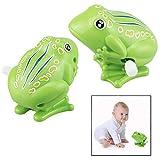 LHKJ 2 Stücke Frosch Spielzeug Set,Kunststoff Uhrwerk Frosch Gehendes Spielzeug für Kinder(Grün)