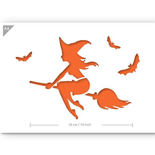 Plantilla de bruja en escoba para Halloween, tamaño A4, reutilizable, apta para niños, para pintar, aerógrafo, tartas, manualidades, paredes, muebles, plantilla