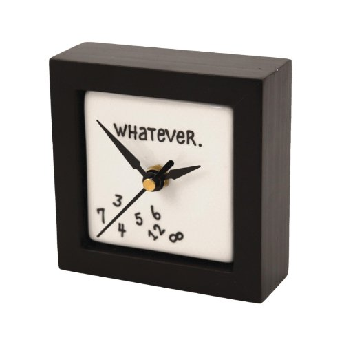 "Enesco Gift Our Name is Mud ""Whatever"" Battery-Operated Square Desk or Wall Clock, 4 Inches"