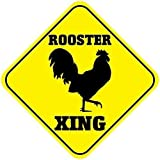 WAGSUO Rooster Crossing Signs Square Funny Metal Signs for Home Decor Kids Room Gate Yard Sign Novelty Gifts 12'x12'