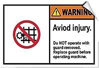 アルミメタルノベルティ危険サインイン、警備員付きの警告操作機は怪我のサインのみを避け、金属スズサインアルミメタルサイン、壁装飾ガレージ