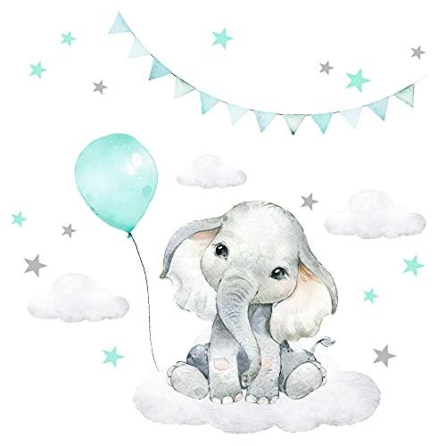 Little Deco Adhesivo decorativo para pared de habitación infantil, diseño de elefante con globo, estrellas, safari, boho, color menta DL212-32