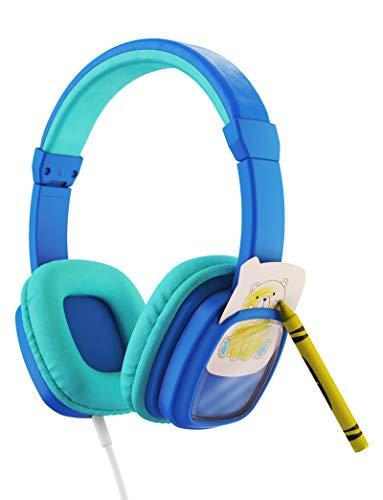 Planet Buddies Kinder kopfhörer, Lautstärkeregulierung mit austauschbaren Tierkärtchen im Lieferumfang enthalten, On-Ear-Kopfhörer Kinder, ideal für Reisen, Schule, Telefon, Tablet und Kindle, Blau