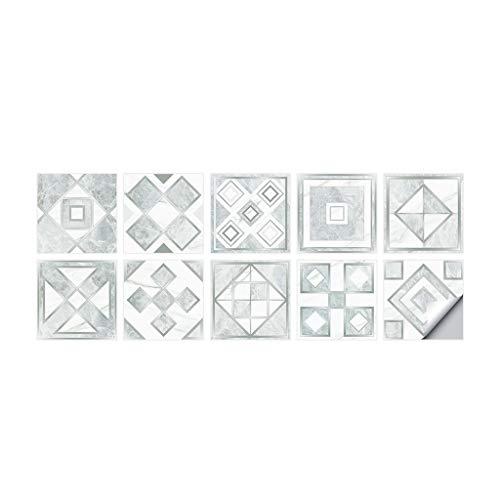 Haorw Etiquetas engomadas de la baldosa, Etiquetas engomadas Autoadhesivas de Las Etiquetas de la baldosa de la Pared para la geometría de la Plata de la decoración del Cuarto de baño