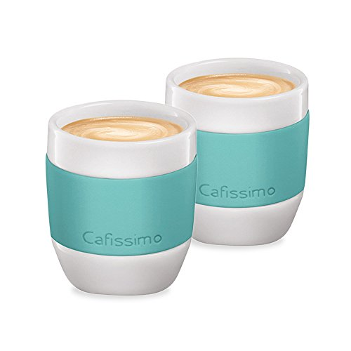 Tchibo Cafissimo Becher oder Tassen aus Porzellan mit Silikonmanschette, 2er Set (Espressotassen, mint)