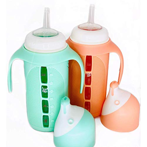 Set of 2 - Glass Sippy Cup for Toddlers - The Luca | Spill-Proof | Silicone Straw | Mint Green &...