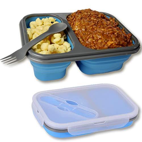 Faltbare Brotdose Premium Frischhaltebox Aufbewahrungsbehälter 2 Bereiche 2-in-1 Gabel-Messer im luftdichten Deckel BPA-freies Material, einziehbare zusammenklappbare unterteilte Bento Lunchbox