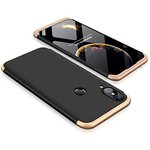 FHXD Hoesje voor Huawei P20 Lite Schokbestendige 360° Beschermhoes [Screen Protector] Mat Ultradunne PC Harde Schaal Telefoonhoes Krasbestendig 3 in 1 Cover Case-Goud Zwart