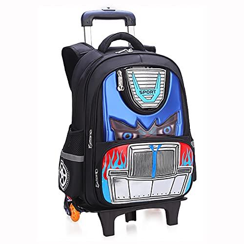 Zaino Trolley per Bambini Stampa 3D Car Hero Borse da Scuola Zaino Casual Zainetto Trolley per Bambini Ragazzi Viaggi Laptop Libri Borsa Multifunzione Bagaglio Blue2-44cm* 33cm*14cm