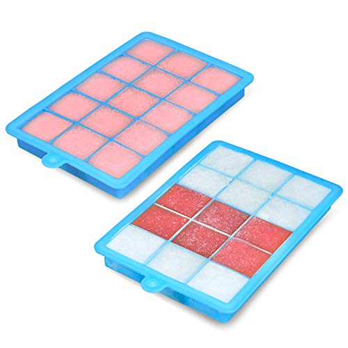 Ice Cube Trays,BomStar 2-Pack Silicone Ice Cube Molds with Lid Food Grade Silica Gel Flexible and BPA Free with Spill-Resistant Removable Lid Ice Cube...
