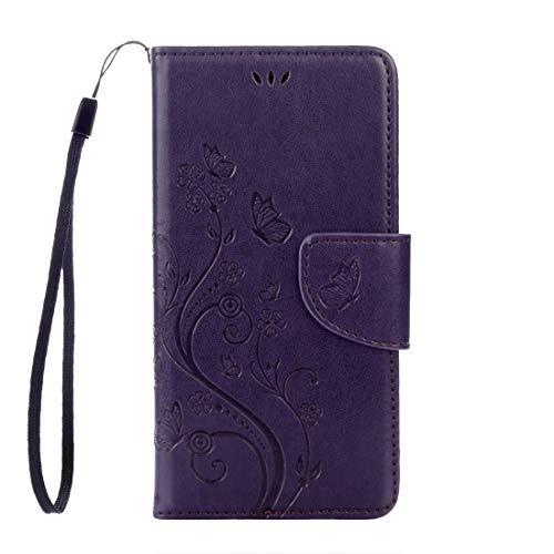 HUANGCAIXIA Accesorios para Celular For Sony Xperia XZ Estampado deMariposas ama Flores Horizontal Flip Funda de Cuero con Soporte y Ranuras for Tarjetas & Billetera& Cordón (Color : Púrpura)