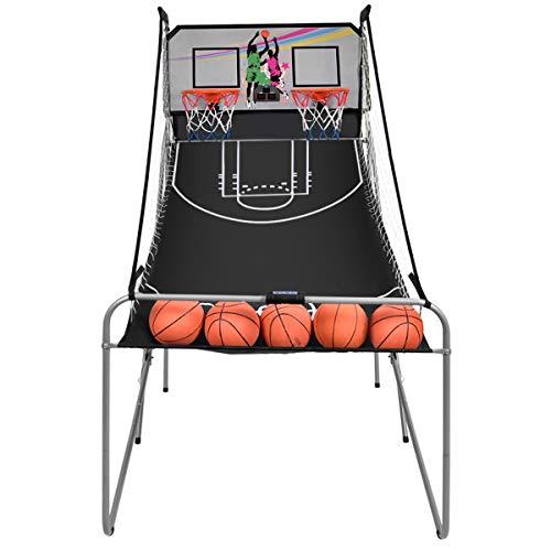 GOPLUS Basketball-Schießmaschine, Basketballständer inkl. 4 Basketbälle und Pumpe, Basketballkorb klappbar, Basketballständer mit Punktezähler, 8 Spieleinstellungen