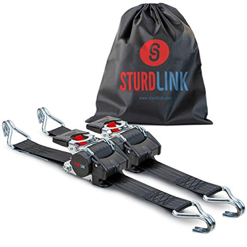 Sturdlink x2 Juego de Correas de Amarre con trinquete de 50mm con enrollador de Correa automático Longitud 3m, LC 1500 Dan en U Ganchos Acero, Ideal para fijación Remolque, Moto, Quad