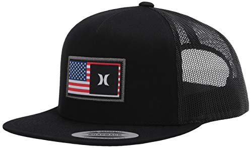 Hurley Men's Destination Flat Bill Trucker Baseball Cap Hat, Black/Black (USA), One Size