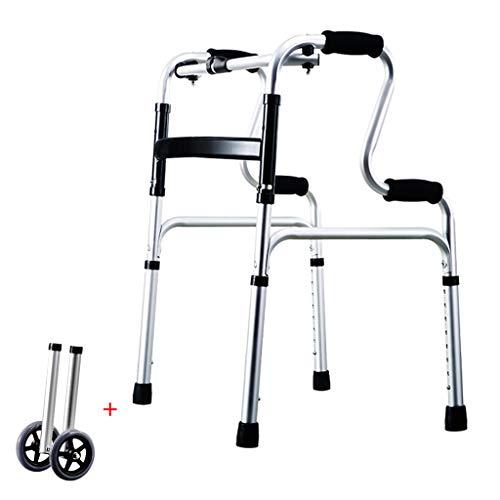 Estándares Andador Plegable bariátrico de Servicio Pesado con Ruedas para Adultos Mayores - Andadores Adultos - Ayuda portátil de Movilidad para Personas de Edad Avanzada de Altura Ajustable