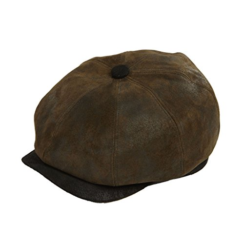 DASMARCA Oliver Eight Pannello Cabbie Giornale Boy Bakerboy Cappello Oliva in Pelle - XL