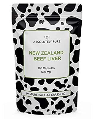 Absolutely Pure Grass-Fed Beef Liver, Un-Defatted, Raw, Freeze-Dried, 180 Gelatin Capsules, 600mg, B12, Iron