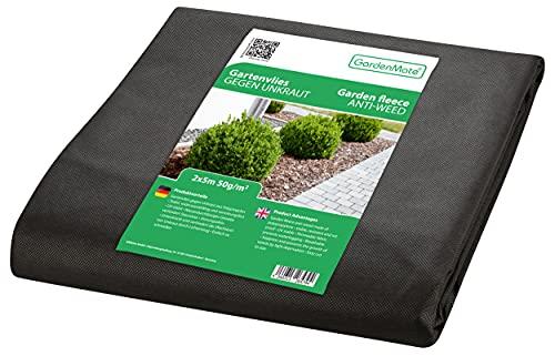 GardenMate Malla geotextil de 2 m x 5 m y 50 g/m² – Geotextil Resistente para Malas Hierbas – Estabilizada contra UV – Permeable al Agua – 2 m x 5 m = 10 m²