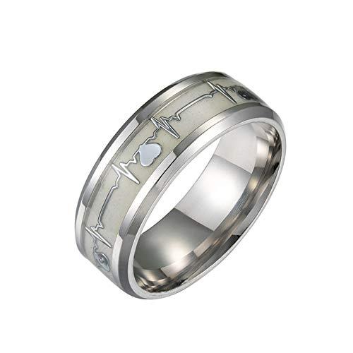 SUNNFLOOWER 2020 Luminous Glow Ring, Unisex Elch und Forest Pattern Edelstahl Ring/Heartbeat Titan Band Ring im Dunkeln Leuchtend - fluoreszierender Modeschmuck (Herz, 10#)