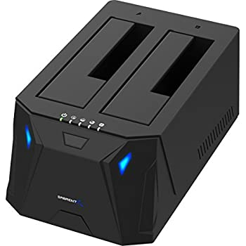 Sabrent USB 3.0 to SATA I/II/III Dual Bay External Hard Drive Docking Station for 2.5 or 3.5in HDD, SSD with Hard Drive Duplicator/Cloner Function [10TB Support] (EC-HD2B)