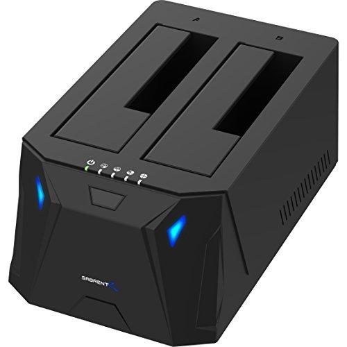 Sabrent USB 3.0 zu SATA I/II/III Dual Bay Externe Festplatte Dockingstation für 2,5 oder 3,5 Zoll HDD, SSD mit Festplattenkopierer/Klon Funktion [[Unterstützt 10 TB] (EC-HD2B)