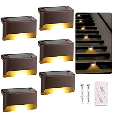 Solar Deck Lights Outdoor, 6 Pack Led Solar Step Light Waterproof for Outdoor Deck, Stairs, Fence, Yard, Patio, Path and Driveway (Warm White)