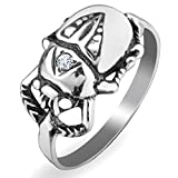 Egyptian Scarab Beetle Ring 925 Sterling Silver with Cubic Zirconia Insect Bug Jewelry for Women Ancient Egypt Good Luck Wealth Amulet Talisman Handmade