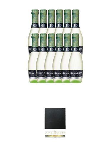 Scavi & Ray Hugo 12 x 0,2 Liter Piccoloflaschen + Schiefer Glasuntersetzer eckig ca. 9,5 cm Durchmesser