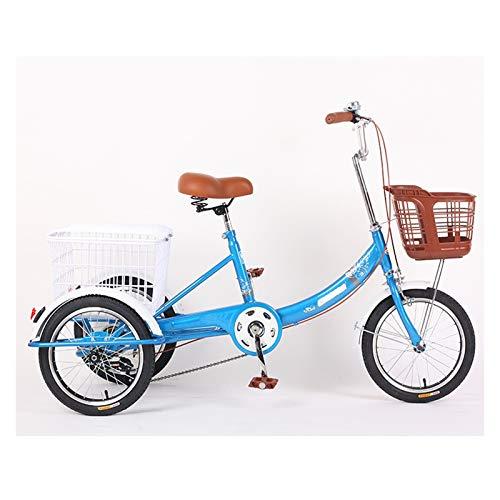 Dreirad Für Erwachsene 16 Zoll Trike Bike Cruise Bike Pedal Dreirädrig Fahrrad Mit Großer Korb Zum Erholung Einkaufen Übung Herren Damen (Color : Blue)