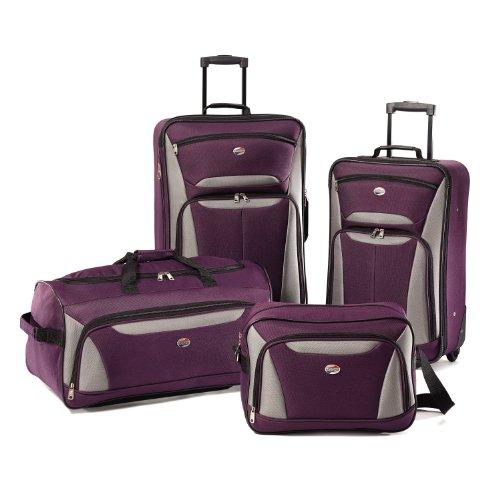 American Tourister Luggage 4-Piece Set, Purple/Grey