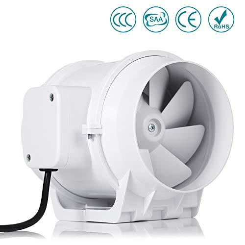 Ventilateur centrifuge silencieux, HG Power 125mm Extracteur Ventilateur Conduit en Ligne Super Léger et Silencieux (125mm standard)