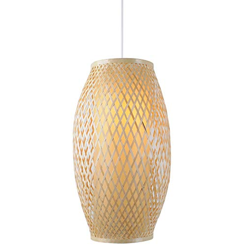 Luz de luz de bambú, luz colgante de ratán, lámpara de bambú, moderno barril tejido, araña de ratán creativo, tonos de bricolaje Luz colgante de tejido para sala de estar Cocina Cocina Comedor Bar