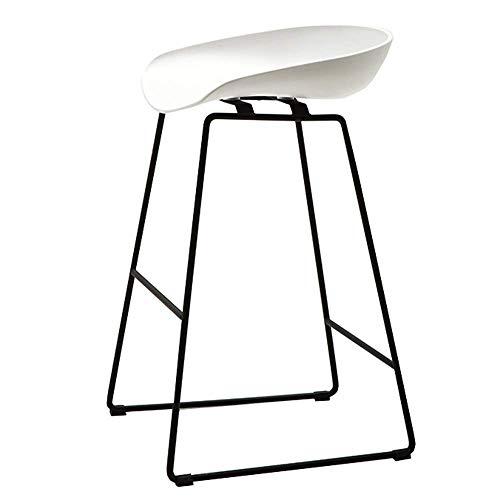 Barkruk barstoel modern zitvlak kunststof PP restaurant keukenstoel poten van massief metaal gewicht lager 200 kg zithoogte 65/75 cm (kleur: wit, afmetingen: 75 cm) 65CM Wit
