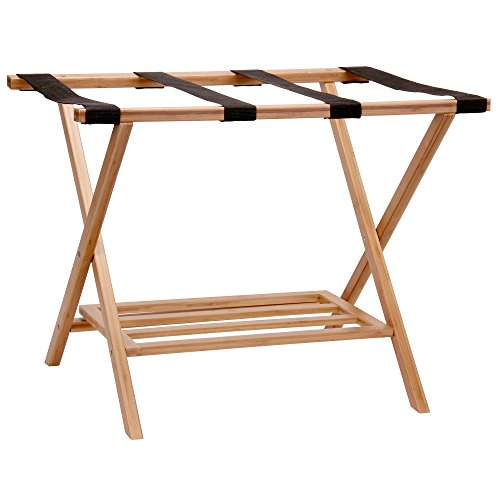 Household Essentials Fully Assembled Folding Luggage Rack with Lower Storage Shelf   Bamboo Frame with Black Straps, Brown
