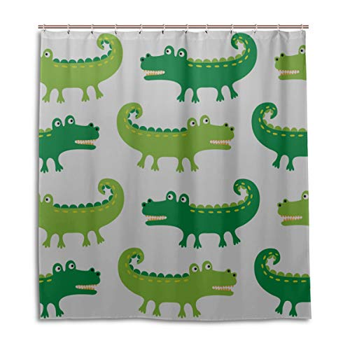 N\A Badezimmer Vorhang Stoff Krokodil heftig lustig Crawl Jungen Badezimmer Duschvorhang 66 x 72 Zoll maschinenwaschbare wasserdichte Badezimmer Gardinen