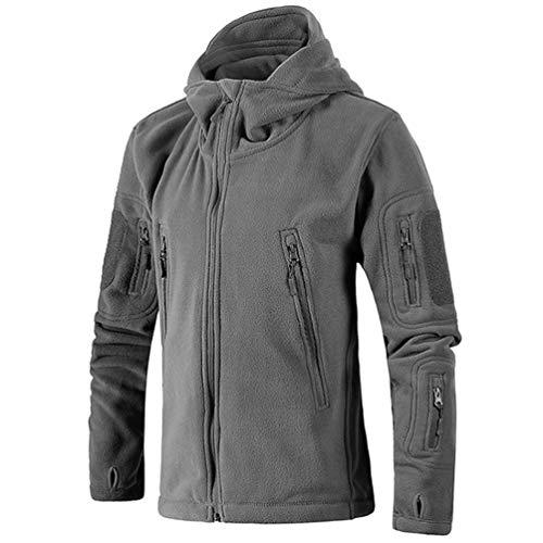 Baijiaye Men's Jacket Outdoor Fall/Winter Warm Jacket Thickened Liner Polar Fleece Jacket Grey1 2XL