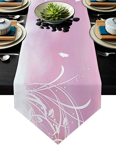 COMMER Camino de mesa, diseño floral de mariposas, bufandas de tocador, decoración de mesa para fiesta de boda/ceremonia de graduación/banquete (33 x 228 cm), diseño de plantas blancas
