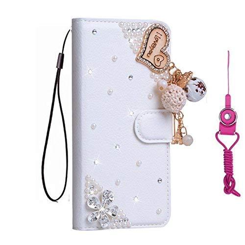 Funda para Redmi Note 7, Note 7 Pro, funda de piel con tapa y correa para el cuello [función atril, cierre magnético] para Xiaomi Redmi Note 7 / Note 7 Pro funda de teléfono (borlas de amor)