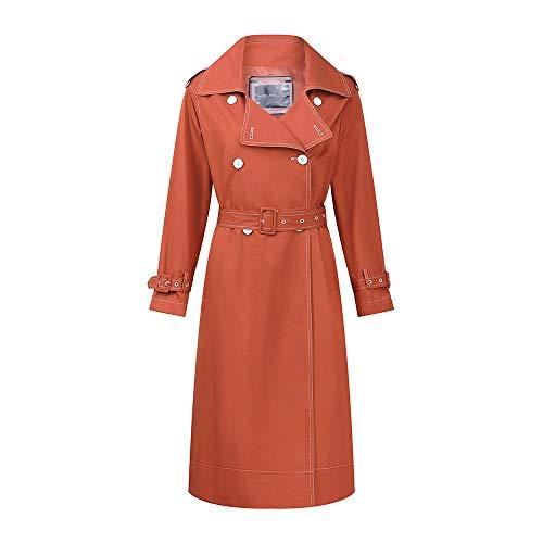 LiSh-EC Klassische schlanke Mode Jacke Trenchcoat winddichter Mantel 2020 Neue Neue Damen Taille Kontrast Zweireiher Trenchcoat Knielang lang mittellang-orange rot_L