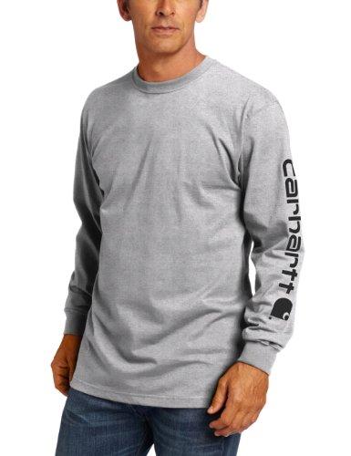 Carhartt Men's Big & Tall Signature Sleeve Logo Long Sleeve T-Shirt ,Heather Grey,Large/Tall