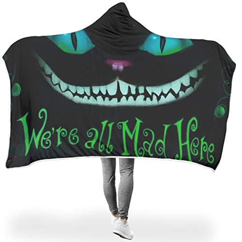 Cheshire Cat Print Microfiber Bedding Winter Wear Blanket,We're all Mad Here Warm Gift for Daily life At Home Print Plush Fleece Lined Throw Wearable Cuddle,We're all Mad Here white 60x80 inch