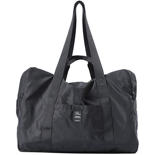 VanFn Travel Duffel Bag, Foldable Sports Duffels Gym Bag, Outdoor Totes, Sports Lightweight Shoulder Handbag, Rainproof Nylon Duffle Bags for Women & Men, Outdoor Weekend Bag P.Travel Series (Black)