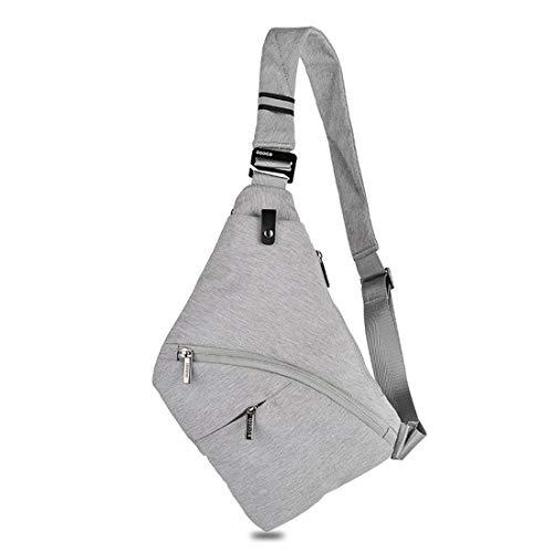 DAFROH Sling Rucksack Multi-Pocket Crossbody Brusttasche Herren Schlank Rucksack Leinwand Chest Pack für Mann Silbergrau