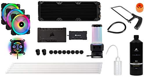 Corsair Hydro X Series, iCUE XH300i RGB Individuelles Kühlungs-Kit (XC7 RGB (115X/AM4), XD5 Pumpen/Ausgleichsbehälter-Kombination, XL5 Kühlflüssigkeit, 3 x LL 120 RGB Lüfter, etc)