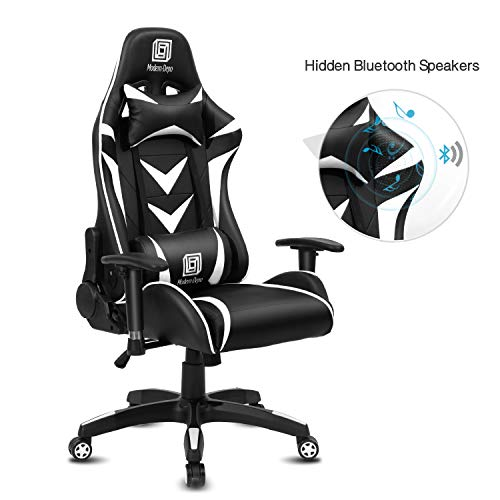 Modern-Depo High-Back Swivel Gaming Chair Recliner with Bluetooth 4.1 Speakers & Lumbar Support & Headrest | Height Adjustable Ergonomic Office Desk Chair - Black & White chair gaming white