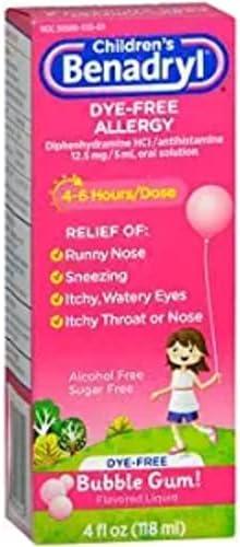 Max 73% OFF Benadryl Children's Dye-Free Popularity Allergy Liquid Flavored Bubble Gum