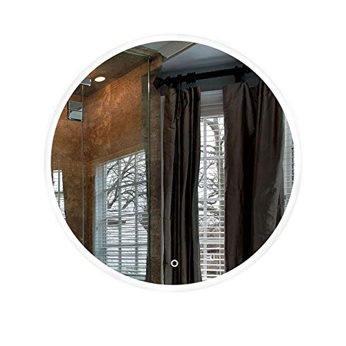 HU WU Badspiegel - LED-Rundspiegel, ohne Rahmen, wandmontierter 5mm kupferfreier Silberspiegel