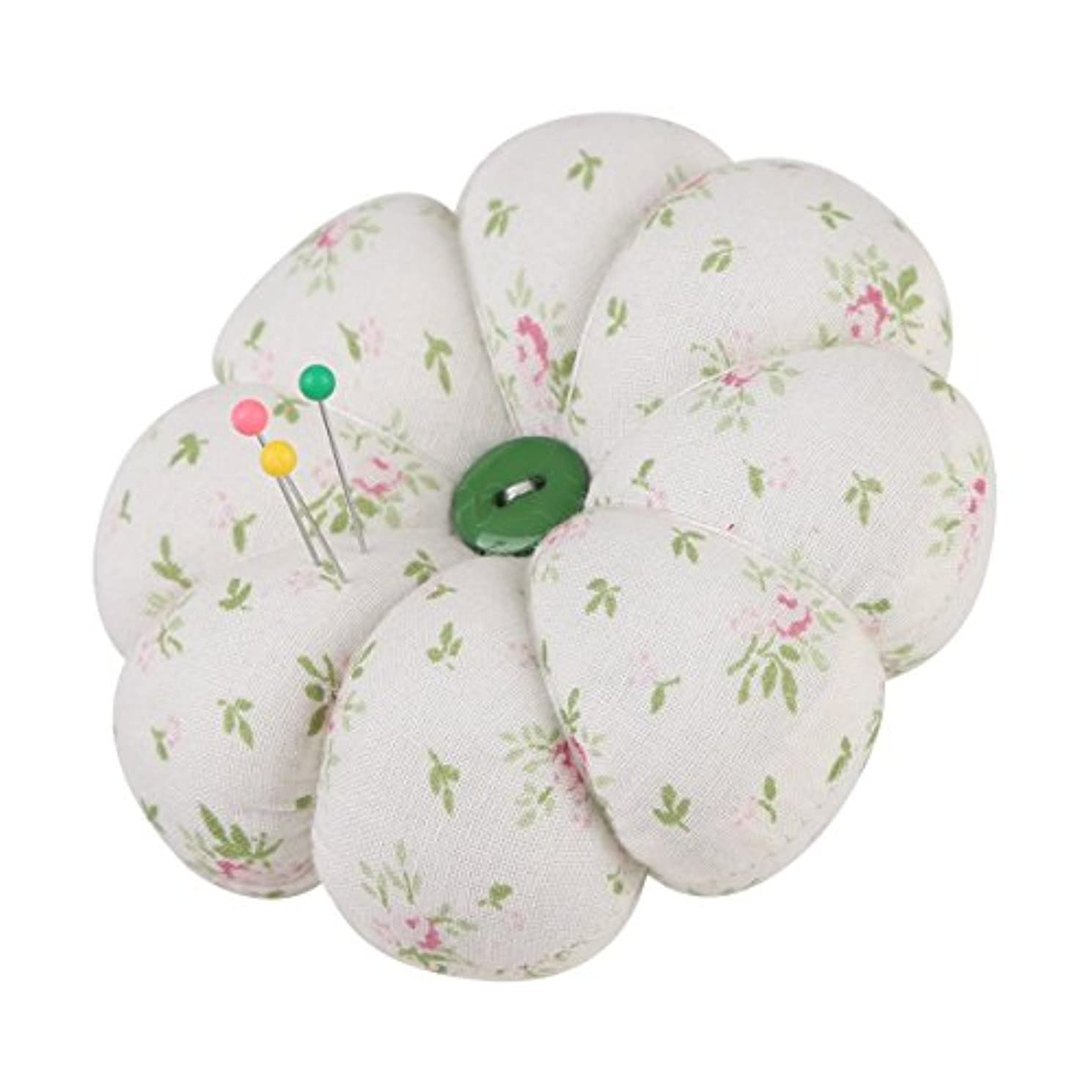 NEOVIVA Vintage Fabric Coated Fully Padded Pincushions for Sewing and Needleworks, Pack of 2, Floral Mist Green
