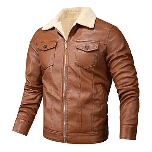 Hombres Retro PU Chaquetas Slim Fit Motocicleta Cuero Cálido Bomber Abrigo Militar Orange XXXL